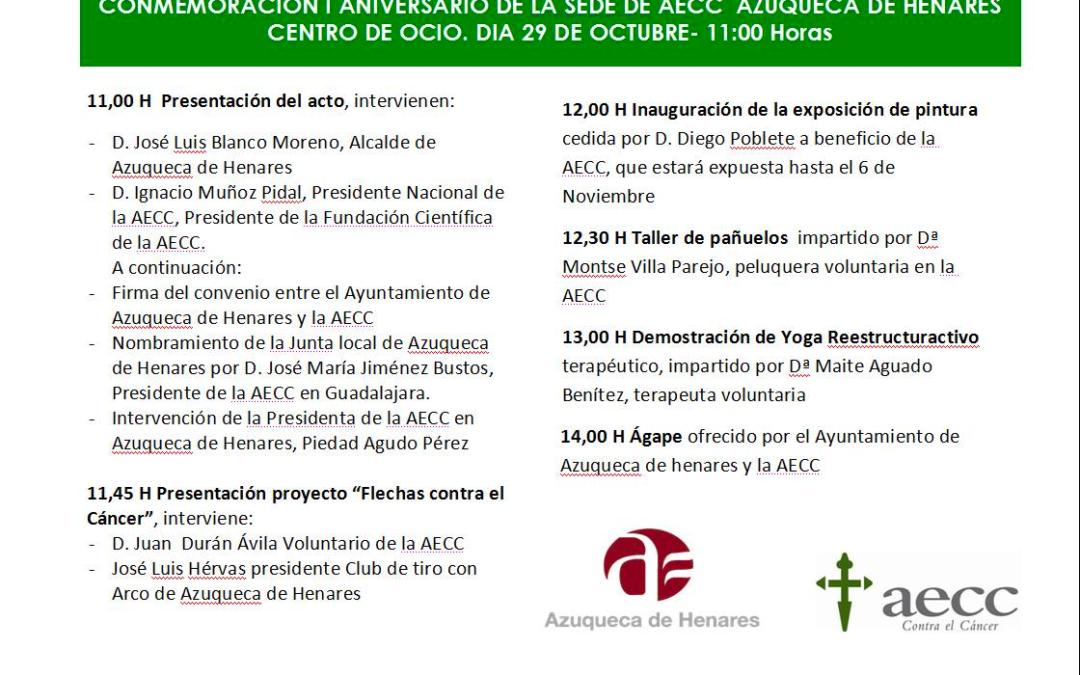 29 OCT: Conmemoración I Aniversario de la Sede de AECC Azuqueca de Henares